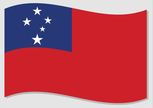 Waving flag of Samoa vector graphic. Waving Samoan flag illustration. Samoa country flag wavin in the wind is a symbol of freedom and independence.