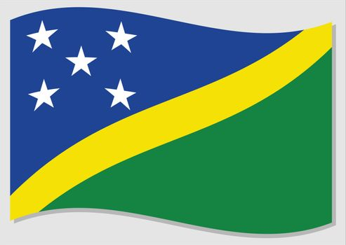 Waving flag of Solomon Islands vector graphic. Waving Solomon Islander flag illustration. Solomon Islands country flag wavin in the wind is a symbol of freedom and independence.
