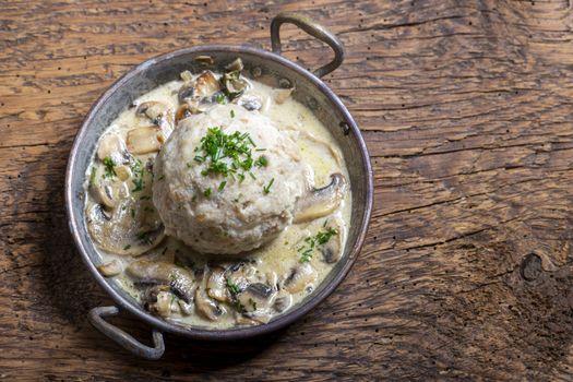 bavarian bread dumpling with sauce