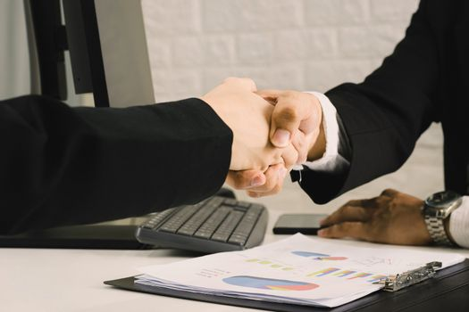 Business people agree business handshake congratulation concepts