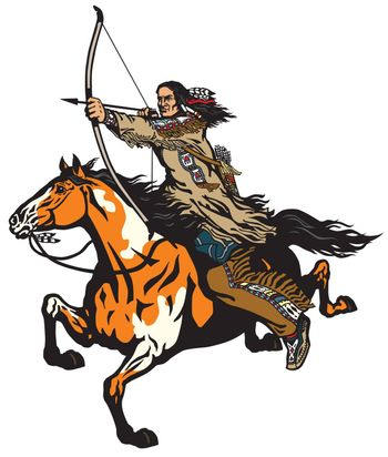American native Indian archer on a horseback riding a pinto colored pony horse and shooting a bow and arrow . Nomadic horseman warrior or hunter on a mustang in the gallop . Isolated vector illustration