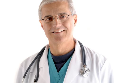 Portrait of a Middle aged doctor in scrubs and lab coat and stethoscope draped around his neck. Isolated on white background.