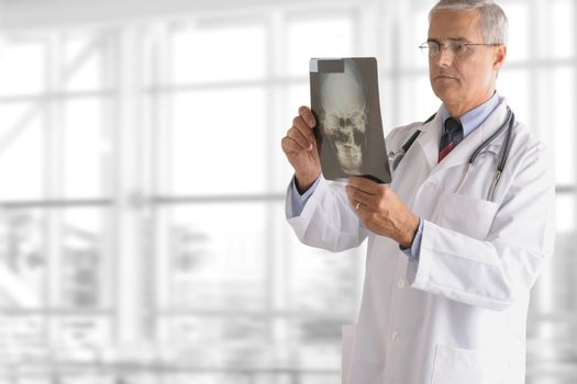 A serious senior doctor standing against office window background while looking at an X-ray.