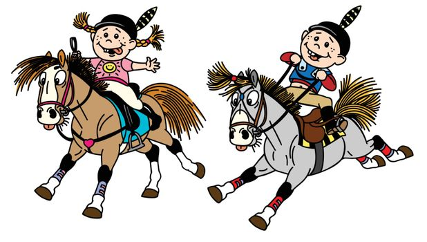 girl and boy riding ponies
