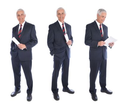 Three views of a mature businessman in full length in different poses, holding rolled up document and reading, isolated on white.