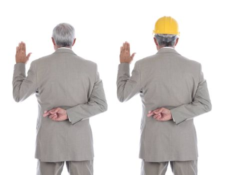 Two images of the same mature businessman / engineer one wearing a yellow hardhat . Both with hand raised and other hand behind back with fingers crossed.