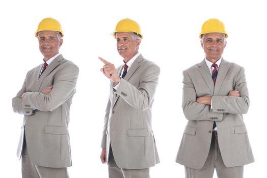 Mature businessman / engineer / architect in yellow hardhat three different poses.