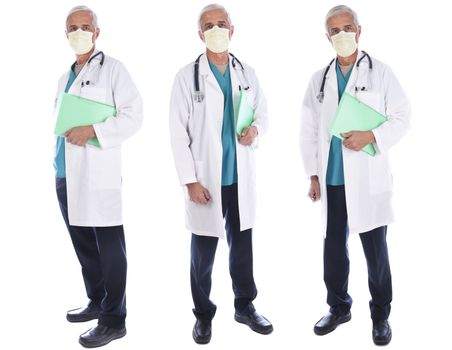 Three views of a mature doctor holding a patients file wearing a lab coat, surgical scrubs, and mask in different poses, isolated on white.
