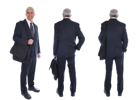 Three different views of a mature businessman carrying a briefcase, back view and front view, isolated on white.