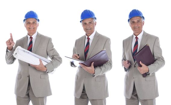Mature businessman / engineer / architect in hard hat holding rolled up blueprints and leather folder. Three Different poses.