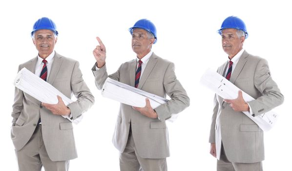 Mature businessman / engineer / architect in hard hat holding rolled up blueprints. Three Different poses.