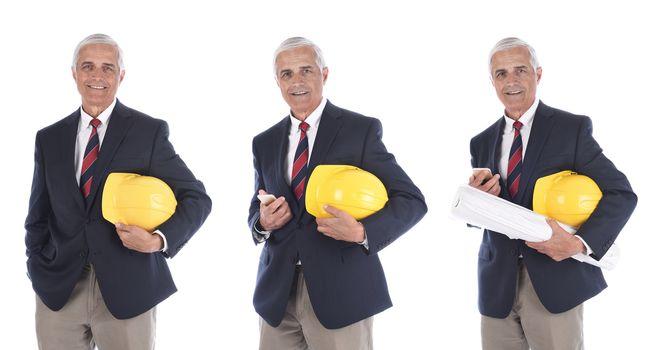 Mature businessman / engineer / architect holding  yellow hardhat under his arm three different poses.