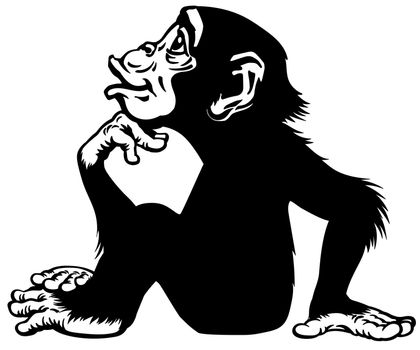 Cartoon Chimp in thinker profile black and white