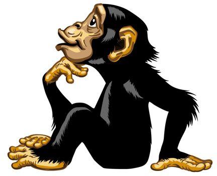 Cartoon Chimp in thinker profile