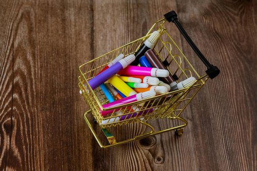 Art painters watercolor colored markers creativity in the school supplies