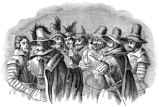 An engraved illustration image of Guy Fawkes and his accomplices
