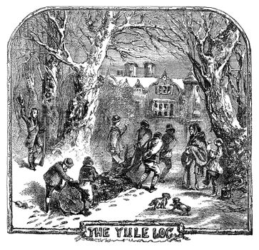 An engraved illustration drawing of people hauling the Yule Log