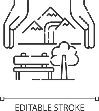 Sustainable tourism pixel perfect linear icon