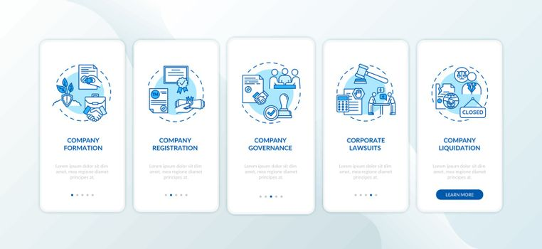 Corporation formation stages onboarding mobile app page screen with concepts