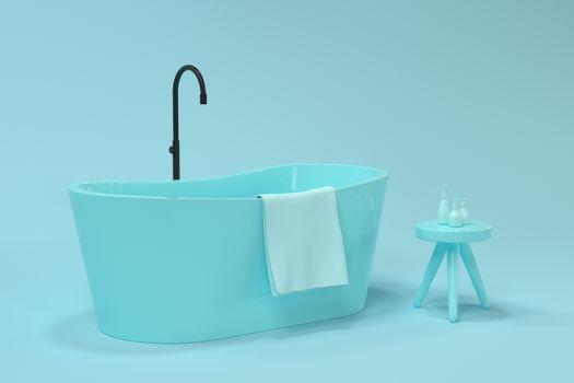 Cartoon bathtub with blue background, 3d rendering. Computer digital drawing.