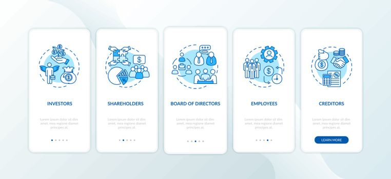 Corporation management onboarding mobile app page screen with concepts