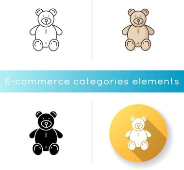Stuffed bear icon. Plush animal for kids. Children soft toy. Furry doll for child. Romantic gift for valentine. Cute mascot. Linear black and RGB color styles. Isolated vector illustrations
