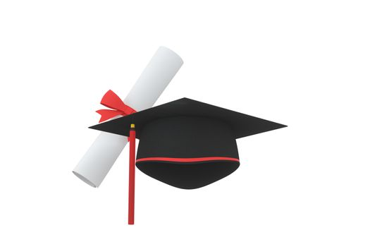 Graduate hat with diploma aside on white background, 3d rendering. Computer digital drawing.