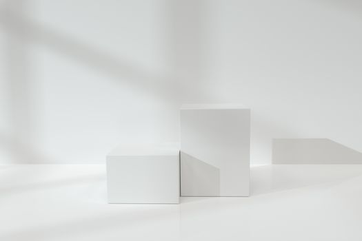 White cubic podium on the floor, 3d rendering. Computer digital drawing.