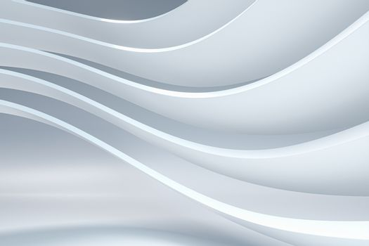White curve geometry with white background, 3d rendering. Computer digital drawing.