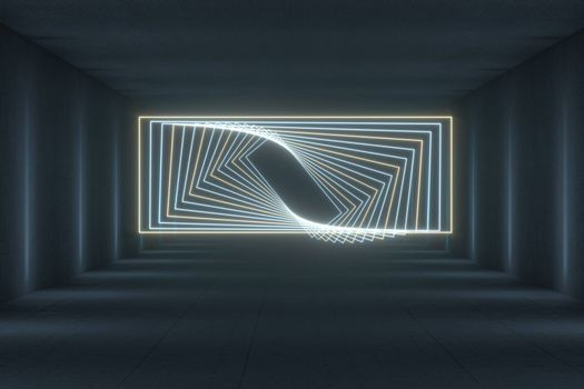 Glowing rectangle lines in the dark tunnel, 3d rendering. Computer digital drawing.