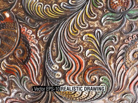 Floral Carved Wood background