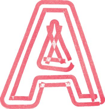 Capital letter A drawing with Red Marker