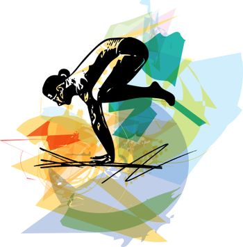 Yoga sketch man illustration with abstract colorful background