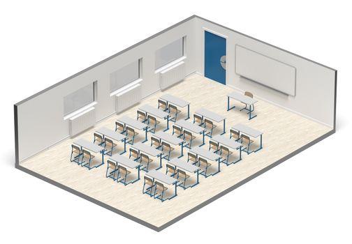 3D rendering - back to school with coronavirus - classroom