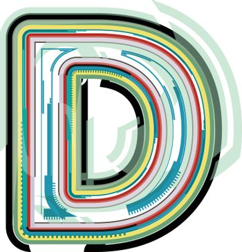 Abstract colorful Letter D