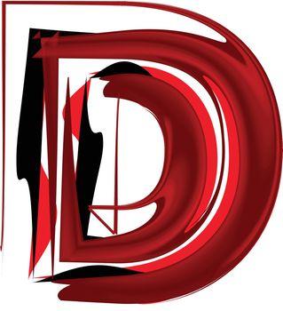 Artistic font letter D