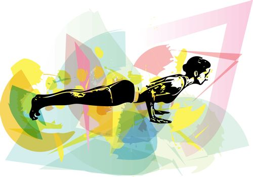 Yoga sketch woman illustration with abstract colorful background