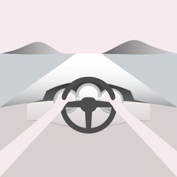 Point of view while driving through. Vector Illustration.