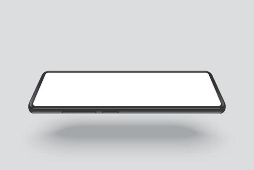 smartphone mockup black frame with white blank screen horizontal
