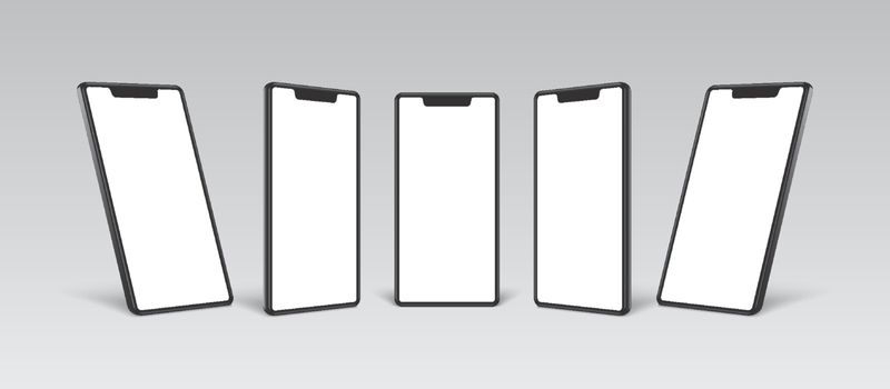 smartphone mockup black frame with white blank display different