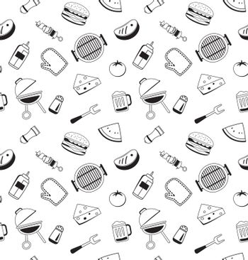 Bbq icons seamless pattern background. Barbecue set.