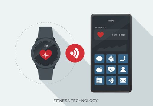 Fitness technology mobile data synchronize between smartwatch an