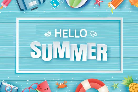 Hello summer with decoration origami on blue wooden background.
