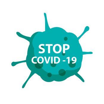 Stop covid 19 coronavirus with green symbol sign.