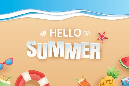 Hello summer beach top view travel and vacation background. Use