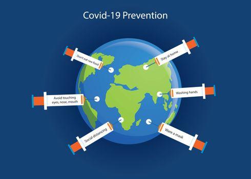 The world full of syringes protect covid-19 coronavirus.