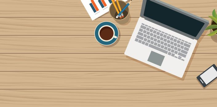 Work from home with wooden table and small office equipment.