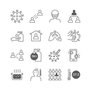 icons set coronavirus covid-19 thin line design.