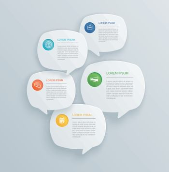 5 infographics with bubble speech template design.