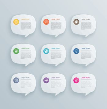 9 infographics with bubble speech template design.